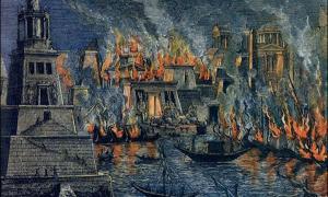 """Una de las teorías sugiere que la Biblioteca de Alejandría fue incendiada. """"El incendio de la Biblioteca de Alejandría"""", de Hermann Goll (1876)."""