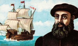 Retrato de Fernando de Magallanes y su nave Trinidad en sello postal. Crédito: Vic/ Adobe Stock