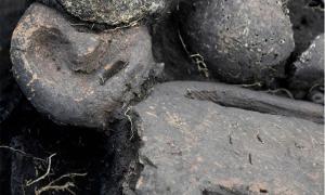 esta extraña figurita enmascarada fue descubierta en una fosa común en Siberia.