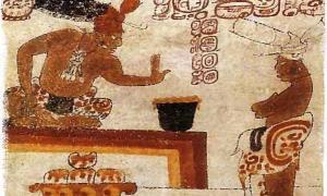 Un señor maya prohíbe a una persona tocar un recipiente de chocolate.