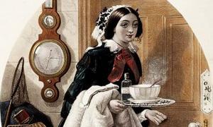 'Una sirvienta que lleva medicinas y sopa a su amo que tiene un resfriado'. (1857)