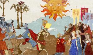 Pueblo medieval con jugadores clave de la jerarquía que incluyen: el rey, la reina, los sacerdotes, los monjes y los soldados. Fuente: Matrioshka/ Adobe stock
