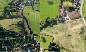 izquierda: antes de que el daño se completara en el sitio de la aldea medieval en Withybrook, Warwickshire, en 2014. Derecha: después del daño más recientemente. Se puede ver el trabajo sustancial completado, p. creación de gran vía. Fuente: Historic England