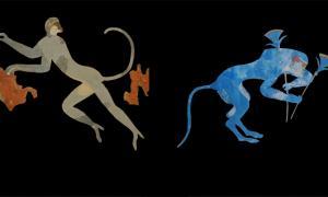 : Izquierda, mono verde representado en el arte minoico en Akrotiri, Thera; Derecha, Babuino se muestra en un fresco en Knossos Fuente: Antiquity Publications Ltd