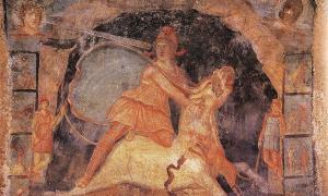 Mitra y el toro, fresco del templo de Mitra, Marino, Italia, del siglo II d.C.