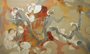 Arte del mono minoico en Akrotiri, Grecia. Fuente: ZDE / CC BY-SA 3.0