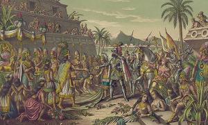 Cortés y Moctezuma.