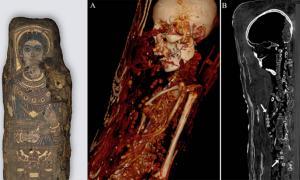 Izquierda: Momia de retrato femenino escaneada gracias a la moderna tecnología de TC. Centro y derecha: Escaneo de momia femenina. La mujer fue colocada sobre una tabla de madera, envuelta en un textil y decorada con yeso 3D, oro y un retrato de cuerpo entero.