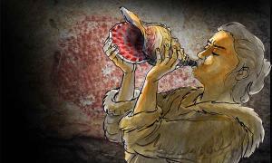 econstrucción del instrumento musical de caracola que se está tocando. Al fondo, un búfalo de puntos rojos decora las paredes de la Cueva Marsoulas; motivos similares decoran el instrumento. Fuente: © Carole Fritz et al. 2021 / dibujo: Gilles Tosello / Science Advances