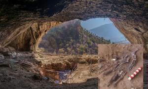 Cueva Shanidar; inserto - excavaciones de los nuevos restos neandertales. Fuente: Hardscarf / CC BY-SA 4.0; R. Lane / Antiquity Publications Ltd.
