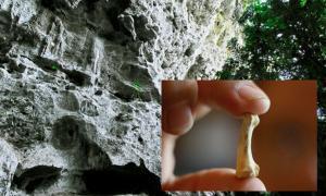 Penablanca, provincia de Cagayan, Filipinas, cerca de la entrada a la piedra caliza Callao Cave, donde hay evidencia de una nueva especie humana. Fuente: Michael / Adobe. Inserción: Un hueso del pie de Homo luzonensis. (Xinhua / Rouelle Umali)