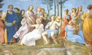 Apolo y las nueve musas. Fuente: Erzalibillas / Dominio público.