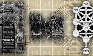 Deriv; Kaballah Árbol de vida (Dominio público), Posicion de manos (Dominio público), y el Zohar (Dominio público), con texto (Dominio público).