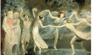 Oberon, Titania y Puck bailando con Hadas. Del Sueño de una Noche de Verano de William Shakespeare.