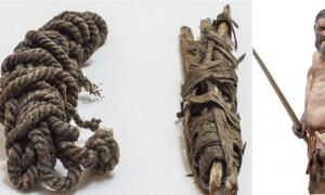 izquierda, cuerda del arco de Ötzi; Derecha, la reconstrucción del Hombre de Hielo por Alfons y Adrie Kennis. Fuente: © Museo de Arqueología del Tirol del Sur / H. Wisthaler; Derecha -Ochsenreiter