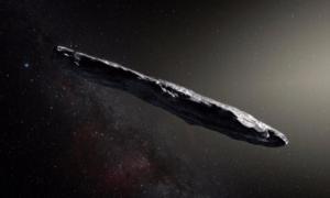"""Una interpretación artística de la extraña forma del cigarro """"Oumuamua"""". Fuente: : ESO/M. Kornmesser"""