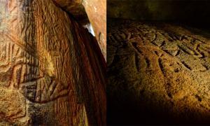 izquierda; Danigala Chithra Lena, Sri Lanka Petroglifos - Entrada de la cámara lineal y pared izquierda que representan secciones de los Petroglifos, incluye figuras antropomorfas, Imagen © EASL | CCF-Polonnaruwa. Derecha; Pared lateral izquierda en el medio de la cámara lineal que representa figuras antropomórficas como el código de unión humana y de la mente maestra. Imagen © EASL | CCF-Polonnaruwa