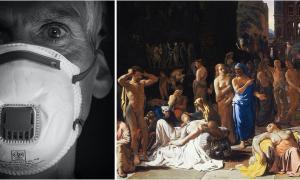 Izquierda: hombre moderno con una máscara facial para protegerse contra el coronavirus. Fuente: dominio público. Derecha: La peste de Atenas. Fuente: Michiel Sweerts / Dominio público