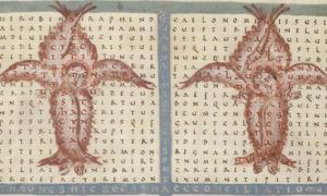 poema con patrón de Rabanus, un texto cuadrado sobre ángeles. (Goodbichon / Dominio público)