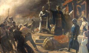 : Entre las últimas tribus eslavas de Polabia en caer se encontraban los Rani, que se jactaban de tener uno de los lugares religiosos de culto eslavos más poderosos, llamado Arkona. Este poderoso fuerte cayó en manos de los daneses en 1168, cuando el rey Valdemar lo saqueó y derribó los ídolos paganos que allí se encontraban