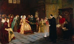 portada-John Dee realiza un experimento ante la reina Isabel I de Inglaterra. [Wellcome Images]