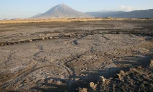 El sitio de la huella de Engare Sero, que conserva al menos 408 huellas prehistóricas que datan de hace entre 19,100 y 5,760 años. Una erupción de Ol Doinyo Lengai, el volcán en el fondo, produjo la ceniza en la que se preservaron las huellas humanas. Fuente: Cynthia Liutkus-Pierce / Nature