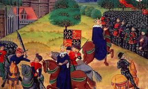 Wat Tyler el 15 de junio, siendo apuñalado por William Walworth, el alcalde de Londres, con el rey Ricardo II mirando. Más tarde fue decapitado y su cabeza apareció en el Puente de Londres por su participación en lo que se conoció como la Rebelión de Wat Tyler. Fuente: dominio público