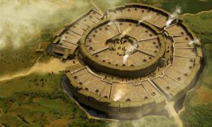 Reconstrucción del sitio arqueológico de Arkaim en Rusia.