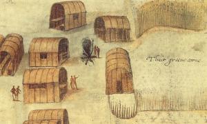 El pueblo de Secoton en la isla de Roanoke, pintado por el colono y artista gobernador John White, alrededor de 1585 d.C.