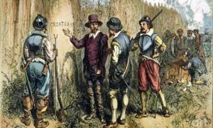 pintura del inglés John White. La expedición de 1590 de sir Walter Raleigh a la isla de Roanoke para encontrar la colonia perdida 'Croatoan' descubierta tallada en un árbol. Esto puede ser en referencia a la isla croata o la gente. Fuente: John White / Dominio público