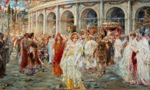 'Las fiestas romanas del Coliseo' de Pablo Salinas muestra a personas de diferentes clases sociales romanas.