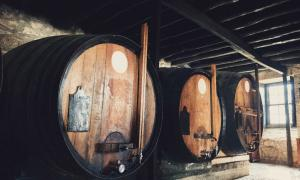 Barriles de vino viejos que probablemente no eran muy diferentes de los barriles de vino romanos encontrados en Riems, Francia.