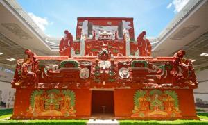 La réplica a tamaño real del templo de Rosalila en el museo del sitio de Copán. Fuente: Talk2winik / Dominio público.