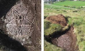 La placa satánica y el altar encontrados en el parque de Holyrood de la Reina, Edimburgo, Escocia. Crédito: Entorno histórico de Escocia