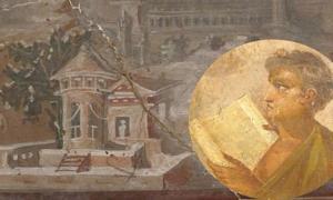 Fresco que representa a un joven leyendo un pergamino de Herculano. (Dominio público) Fondo: Un fresco romano de la Villa de los Papiros (Herculano). (Sailko / CC BY 3.0)