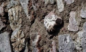 Un escudo de guerra y una cabeza de ave de rapiña son dos de los símbolos prehispánicos descubiertos en el túnel mexicano. Fuente: Edith Camacho, INAH