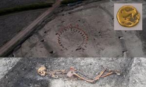 Se ha encontrado evidencia esquelética de una víctima de asesinato de la Edad del Hierro mientras excavaban un sitio arqueológico en la Granja Wellwick, cerca de Wendover. Moneda de oro encontrada en el sitio. Fuente: HS2.