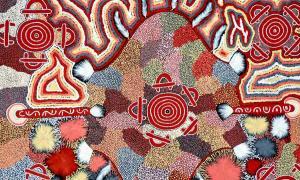 Esta obra de arte aborigen australiano muestra una representación cartográfica, probablemente vinculada a la idea de una línea de canciones, y enlaces a la idea de cómo estos pueblos antiguos podían recordar tanto sin un lenguaje escrito.