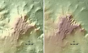 Takeshi Inomata identified this ancient Maya site, dubbed La Carmelita, using LiDAR maps, seen here in both low and high resolution. Image courtesy of the Instituto Nacional de Estadística y Geografía/Nacional Center for Airborne Laser Mapping.