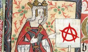 """Retrato de la emperatriz Matilde, de """"Historia de Inglaterra"""" de los monjes de St. Albans (siglo XV); el comienzo de La Anarquía. (Superposición, signo de anarquía moderno)"""