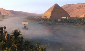 reconstrucción digital del río Nilo de Assassin's Creed Origins. Crédito: Ubisoft