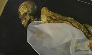 Momia de la princesa de Ukok / Doncella de hielo siberiana. Tatuajes en sus brazos. (Wikimedia Commons)