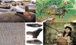 Algunos de los principales descubrimientos arqueológicos de 2020: Sarcófagos encontrados en la necrópolis de Saqqara. (Charlene Gubash / NBC News) Mapa del Reino Maya, Sak Tz'i, desenterrado en México. (Charles Golden / Brandeis University) La tablilla de arcilla Lion Table escrita en escritura lineal elamita. (Darafsh / CC BY-SA 3.0) Esta figurilla de pájaro es la escultura más antigua conocida encontrada en el este de Asia. (Francesco d'Errico / Luc Doyon / PLOS ONE) Investigadores han encontrado los rest