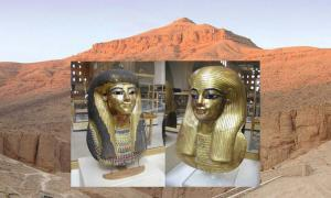 Máscaras de momia de cartonaje dorado de los padres de la reina Tiye, Tuya (Jon Bodsworth) y Yuya (Jon Bodsworth). Una vista del Valle de los Reyes cerca de Luxor, Egipto. (Nikater / CC BY SA 3.0)