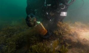Un arqueólogo subacuático de Parks Canada trabaja a unos ocho metros (26.25 pies) debajo de la superficie del agua. Fuente: equipo de arqueología subacuática / Parks Canada
