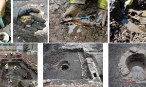 Una selección de características y artefactos del sitio encontrados durante la excavación arqueológica en Edimburgo, Escocia, antes de un proyecto de construcción en Virgin Hotel. Fuente: AOC Archaeology