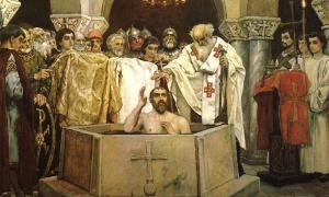 Vladimir el Grande, conocido como Volodymyr en Ucrania, o incluso San Vladimir, visto aquí durante su bautismo, ha pasado a la historia como el líder que llevó el cristianismo a los paganos eslavos.