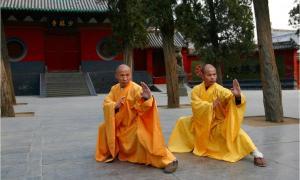 Dos grandes maestros del Templo Shaolin Shi DeRu (Shawn Xiangyang Liu) y Shi DeYang (Shi WanFeng) que son dos discípulos difuntos del difunto Gran Gran Maestro del Templo Shaolin Shi SuXi (también conocido como: Su Santidad Superior Su y Baja Xi). (CC BY-SA 3.0)