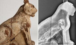 El ataúd de madera de un gato momificado [izquierda] y un escaneo CT revelando el esqueleto antiguo de un gato por dentro.
