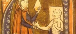 Ilustración de un monje atendiendo a un paciente enfermo. (Wikimedia Commons)